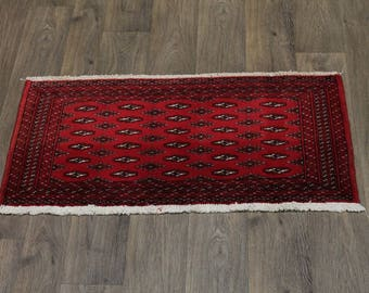 Small Hand Knotted Red Tribal Turkoman Persian Rug Oriental Area Carpet 1ʹ9X3ʹ5