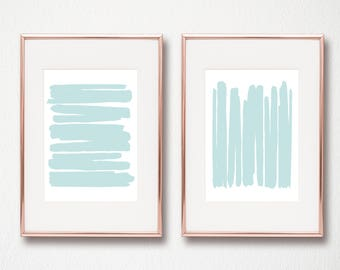 Blue Abstract Turquoise Set of 2 modern art prints aqua light blue digital art prints 2 sizes included 8x10 and 11x14 wall art printable