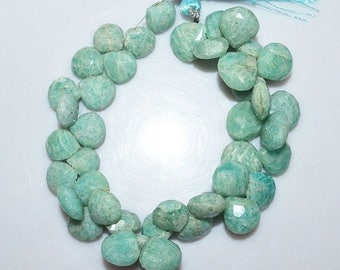 50% OFF 1 Strand Amazonite Faceted Heart Shape Beads - Amazonite Briolette , 10x10 - 12.5x12.5 mm , 7.5 Inch Strand , BL1771