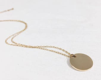 Circle Necklace Gold Plated   Disc Necklace with Round Pendant Geometric Minimalist Design Stainless Steel Jewellery