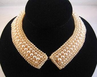 ON SALE Vintage 1950 Baar and Beards Japan Pearl Beaded Collar, Peter Pan CollarVintage