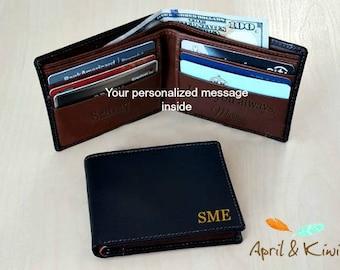 Personalized thin wallet • Slim men's wallet • monogram slim wallet • Father's day gift • custom slim wallet • black/toffee 7720