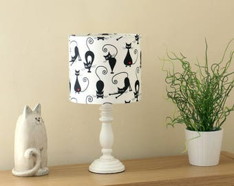 Black Cats on white - High Quality Lampshade - Handmade in UK Using Best Fabrics Printed in Britain