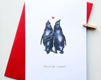 Penguin Valentines Card, Funny Valentine's Card, Penguin Lovers Card