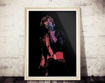 Mick Jagger Polygonal Art Print, Geometric Modern Art, Polygonal Art, Wall Decor, Mick Jagger Poster, Mick Jagger Poster, Mick Jagger Live