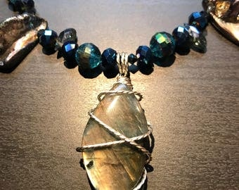 Labradorite Beaded Necklace // Gifts for her // Gifts for Mom