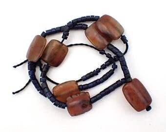 Very Old Rare Natural Pyrite Lapis Lazuli & Carnelian Tablet Beads Strand #6498
