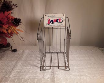 Vintage Lance Salted Peanut Wire General Country Store Display Advertising Rack