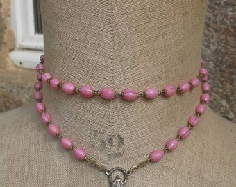 French vintage pink glass beaded rosary