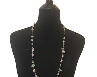 Vintage Faux Crystal Beaded Necklace / Summer Necklace Jewelry / Crystal Necklace