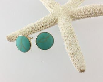 Kingman turquoise studs, turquoise studs, Turquoise earrings/American turquoise, Turquoise, blue studs, blue stone, stud earrings,