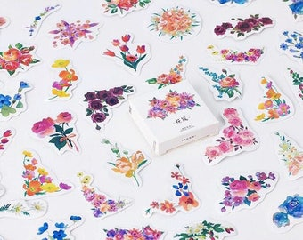 Watercolour painted flowers cute kawaii kitsch box of stickers
