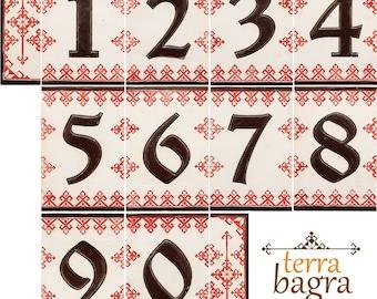 Handmade Ceramic House Number tiles RED Dolls - Large size