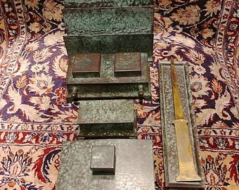 6 piece Arts and Crafts Green Patinated copper desk set double Inkwell, letter holder, stamp holder, letter opener, and tray C K & Co c.1915
