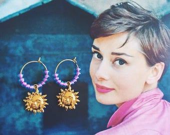 The suns hoop earrings...Summer, Beach, Sky, Sun, Hoop earrings, Beads, Gold