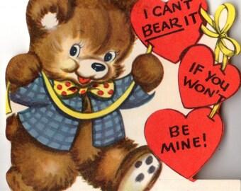 Vintage Bear with Hearts Die-Cut Children's Classroom Valentine's Day Card