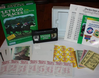 Vintage Let's Go To The Races VCR Horse Racing Game Parker Brothers 1987 Complete