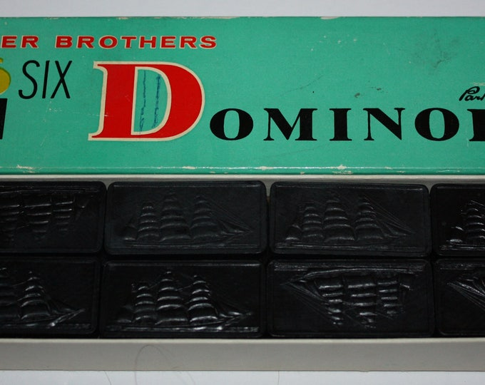 Vintage Parker Brothers Double Six Clipper Ship Box of Dominoes 1960's