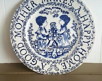 Royal Crownford Norma Sherman Collectable Plate Good Mother Happy Home 1980 Dated All Year Long Staffordshire