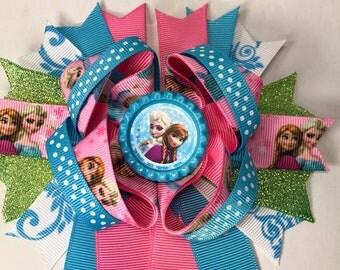 Frozen hair bow elsa hair bow frozen birthday bow Elsa birthday bow frozen birthday party Frozen bow Elsa and Anna bow  birthday bows