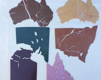 Vintage   Plastic   Assorted   States of Australia   Stencils