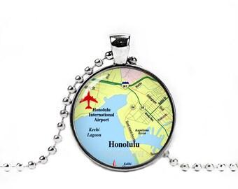 Honolulu Necklace Honolulu Map Pendant Honolulu City Map Necklace City Maps Wander Travel Jewelry