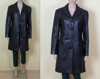 Vintage Leather Coat Women's Black Leather Coat Real Leather Coat Genuine Leather Coat Rocker Fetish Medium Size