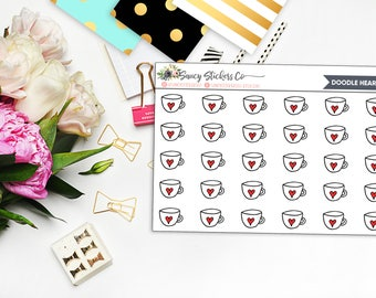 Doodle Heart Mug Planner Stickers | for use with Erin Condren Lifeplanner™, Happy Planner