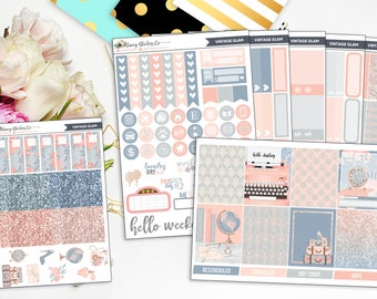 Vintage Glam Full Weekly Planner Sticker Kit for use with Erin Condren Lifeplanner™, Filofax, Personal, A5, Happy Planner