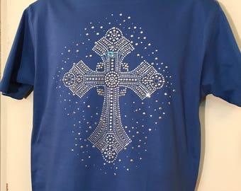 Rhinestone Cross/Christian/Religious/Ladies/Bling/Women/S-3X/Cross Shirt/Gifts for her