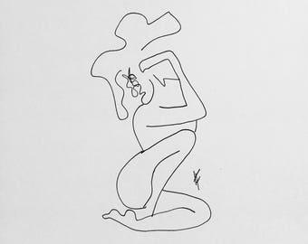 Original Ink Print--Figure Drawing