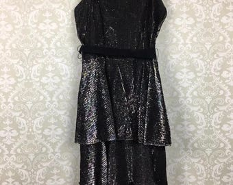 Vintage Beau Mond Black Metallic Shimmer Tiered Ruffle Prom Dress Formal Party 5