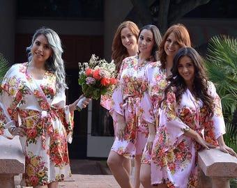 "Set Of ""5"" Floral Satin Bridal Robes - Silk Floral Robe - Dressing Gown - Bridesmaid Robe - Satin Kimono Robe - Floral Wedding Robes"
