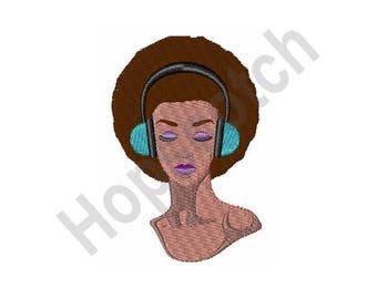 Woman In Headphones - Machine Embroidery Design