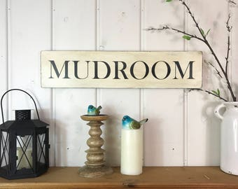 "Mudroom sign | rustic wood sign | rustic wall decor | farmhouse decor | fixer upper decor | mudroom wall decor | rustic decor | 24"" x 5.25"