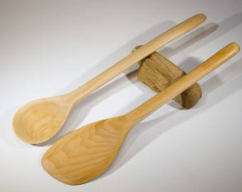 Hand Crafted and Carved Wooden Spoon and Spatula Set