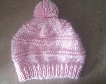 Pink Pompom Beanie Winter Hat Hand Knit