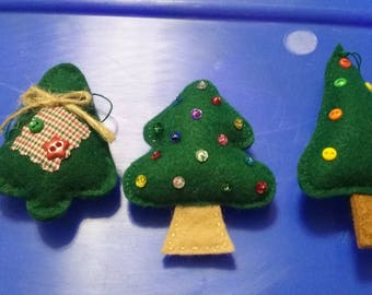 Hand-sewn felt Christmas trees with sequence buttons 3 count three different