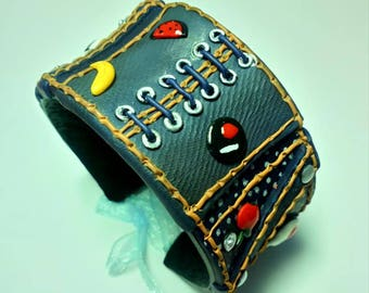 Polymer clay bangle,jeans bracelet,,cuffs,wide cuffs.handmade cuffs,jeans bangle,polymer clay jewelry,blue bangle