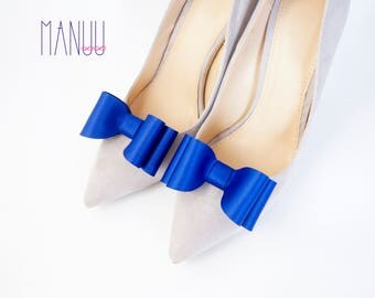 Cobalt blue shiny bows - shoe clips Manuu, Wedding accessory, Bridal shoes