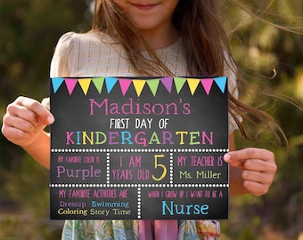 First Day of Kindergarten Sign- School Signs- School Photo Prop-Back to School Chalkboard-First Grade Sign-School Print-Back to School Sign
