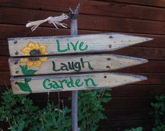 Live Laugh Garden, gardensign,whitewashpicketfence,sunflower,hangingsign,wirehanger,outsidedecor,yardart,wallhanging,rustic,whimsical,fun
