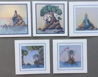 Mermaid - 5 Greeting Card set