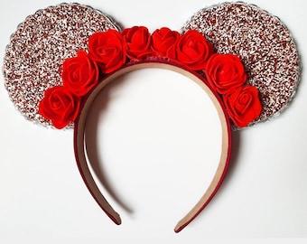 Red Glitter Flower Crown Mickey Ears
