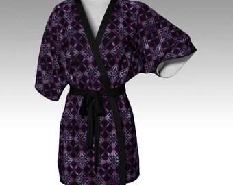 Luxury Kimono, Kimono Robe, Draped Kimono, Dressing Gown, Bridesmaid Robe, Kimono Jacket, Chiffon Jacket, Festival Clothing, Diamond, Purple