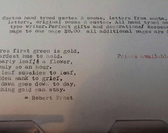 Hand typed custom poems, letters and quotes