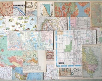 Vintage Map Pieces Pack World Atlas Us Euan Road Street Mix For Collage Lot