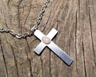 Opal Cross Necklace