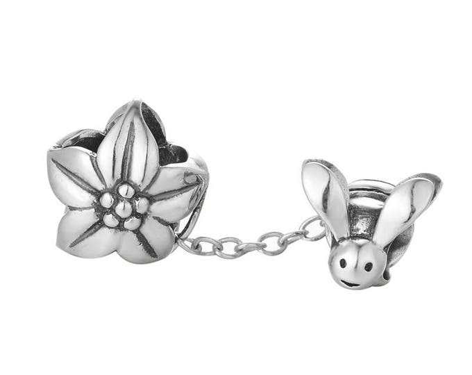 Bumblebee Flower Charm, Silver Jewellery, Animal Charms for Bracelet Necklace, Girls Necklace Charm, Mother Daughter Gift, Flower Bead