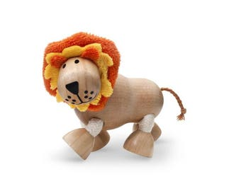 Sustainable wooden lion toy